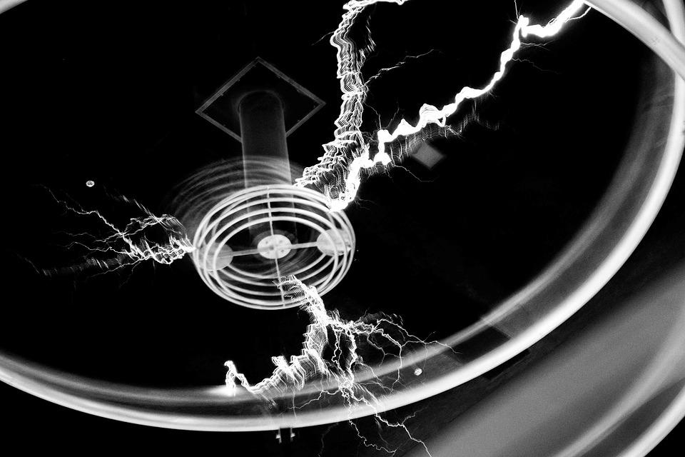 Electricity, Shock, Tesla, Coil, Black And White, Black