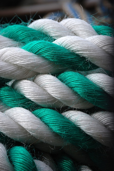 Rope, Green, White, Coiled, Coil