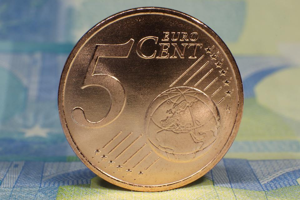 Five, Euro, Cent, Coin, Front Side, Currency, Copper