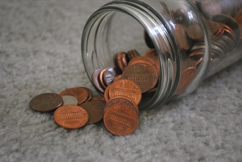 Pennies, Coin, Coins, Money, Jar, Spill, Spilled