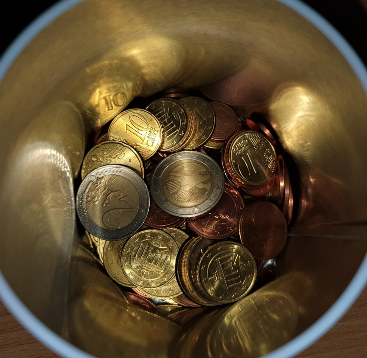Money Box With Small Money, Coins, Coinage