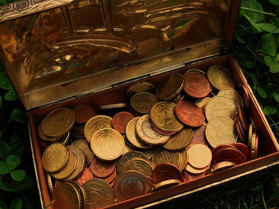 Treasure, Treasure Chest, Euro, Coins, Money, Cash