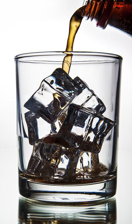 Cola Pouring In A Glass With Ice, Ice, Glass, Fizzy