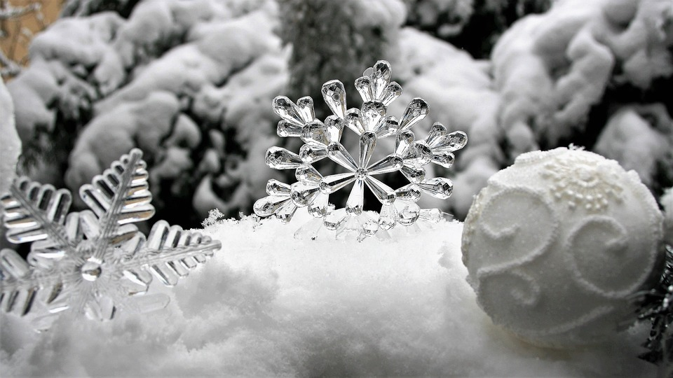 Ice, Stars, Christmas Baubles, Snow, Frost, White, Cold