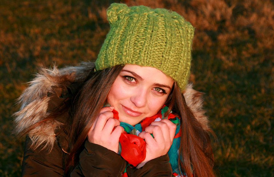 Girl, Hat, Green, Green Eyes, Cold, Winter, Portrait