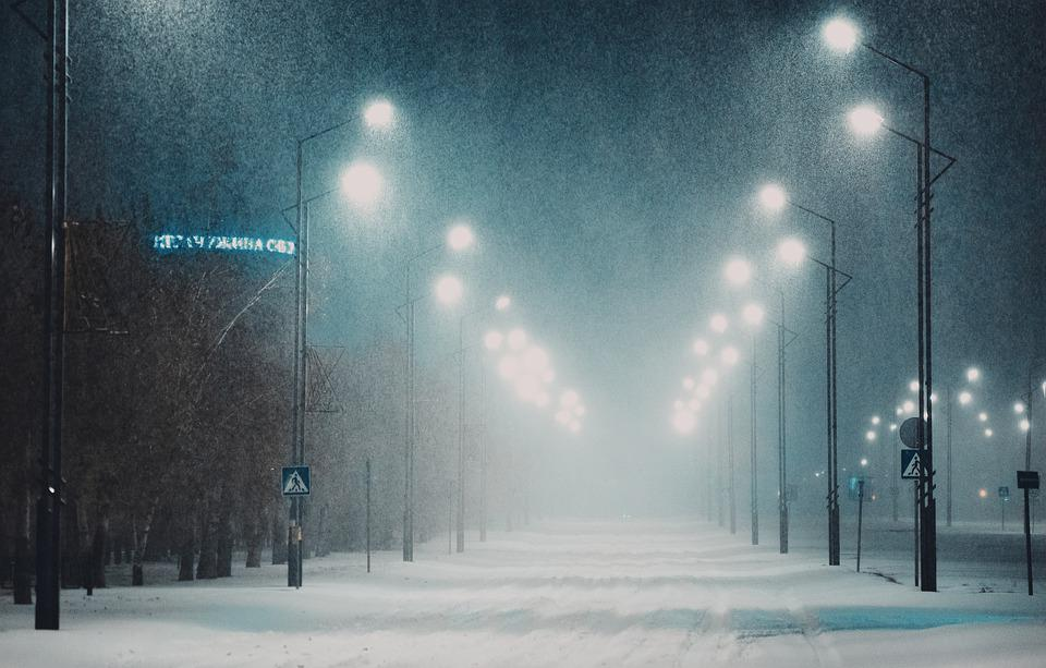Street, Snow, Fog, Night, Lights, Winter, Cold