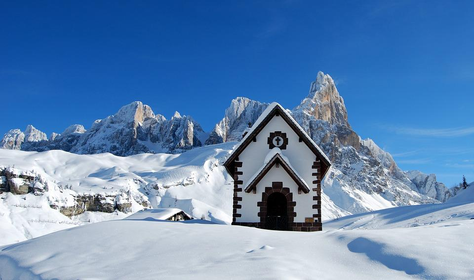 Dolomites, Church, Snow, Winter, Mountain, Cold