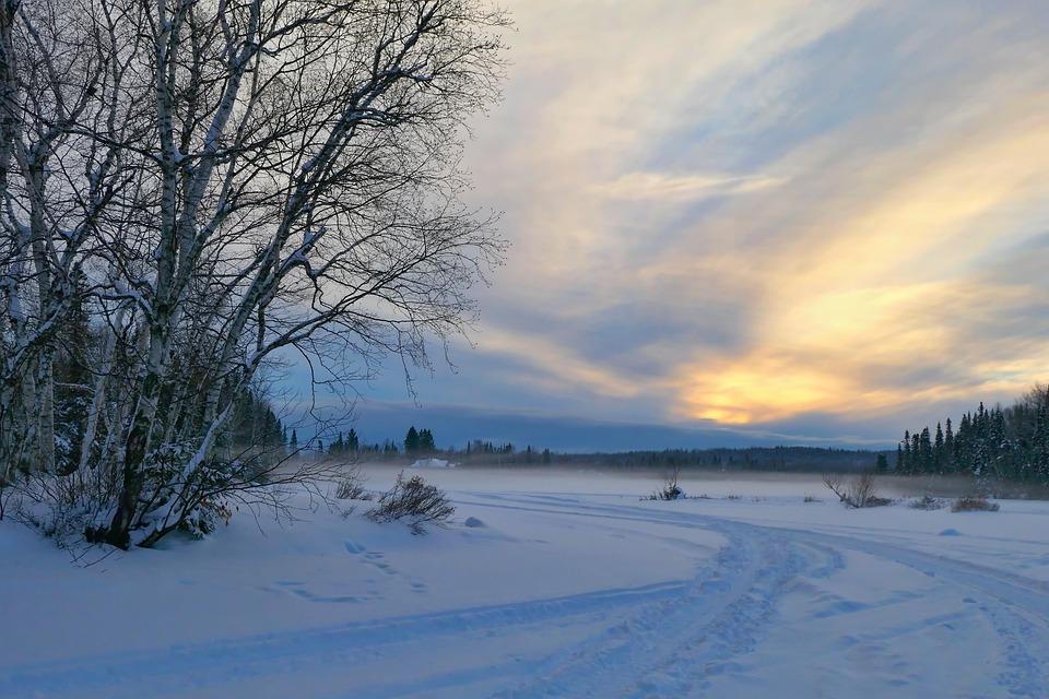Sunset, Landscape, Winter, Nature, Snow, Cold, Gel