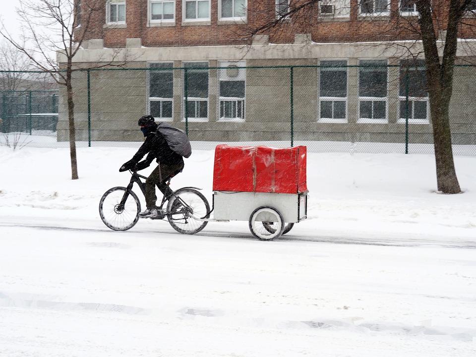 Transport, Winter, Bike, Snow, Cold, Vehicle, Road