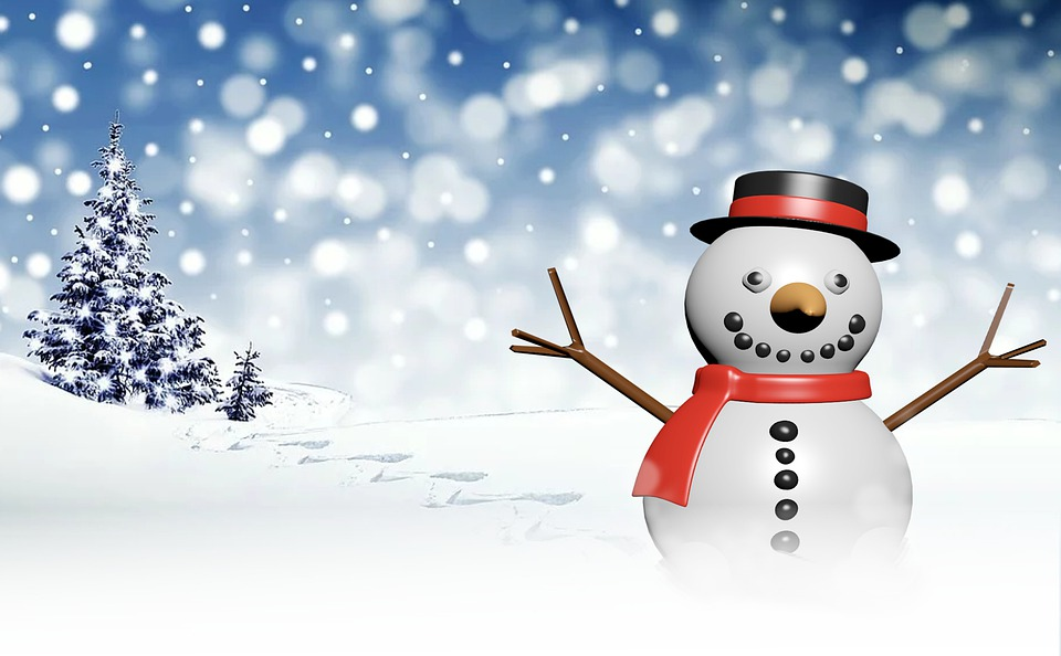 Winter, Snowman, Snow, Cold, Illustration, Seasonal