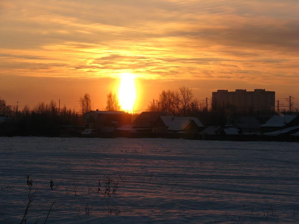 Sunset, Winter, Snow, Evening, Cold, Landscape, Silence