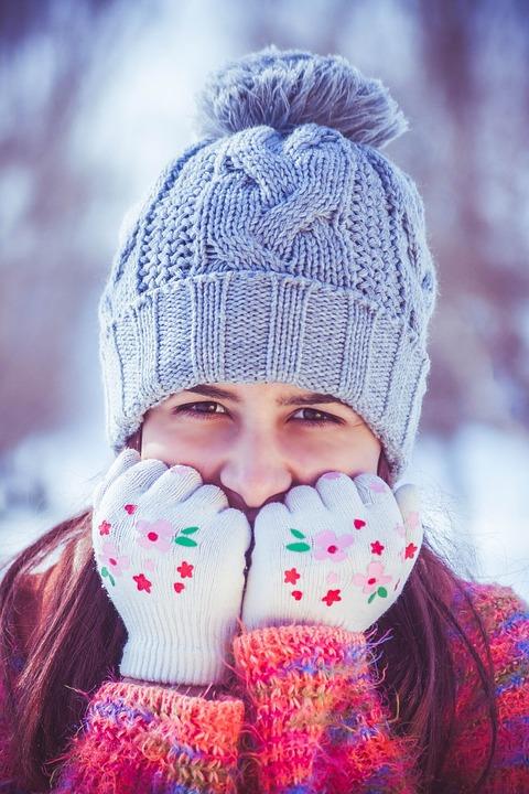 Girl, Beauty, Portrait, Winter, Smile, Snowflakes, Cold