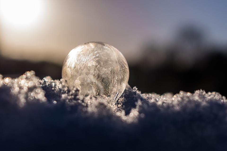 Soap Bubble, Soapbubble, Winter, Cold, Milky, Air
