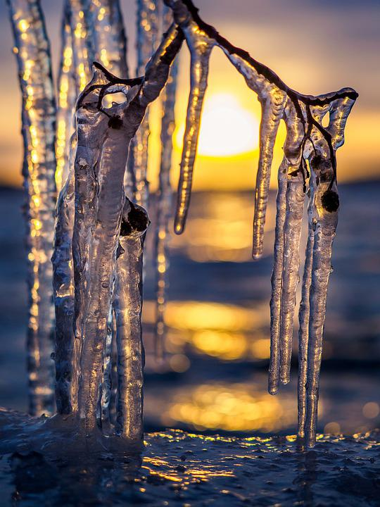 Ice, Icicles, Winter, Frozen, Cold, Sunset, Nature