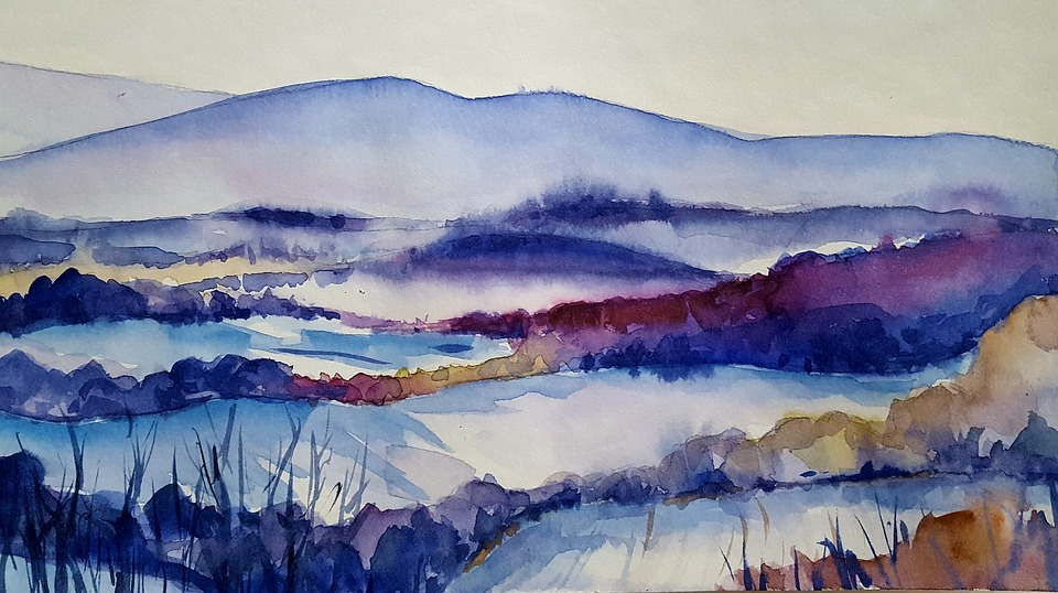 Painting, Country, Cold, Snow, Winter, Watercolor