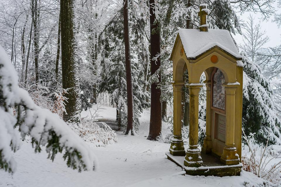 Snow, Chapel, Cemetery, Wood, Winter, Wintry, Cold