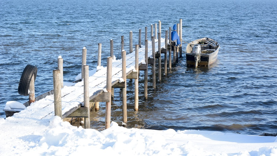 Winter, Water, Boot, Web, Jetty, Lake, Cold, Icy, Pier