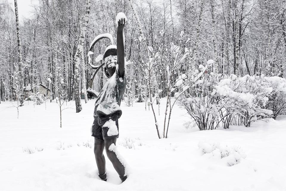 Snow, Winter, Coldly, Leann, Frozen, Statue, Park