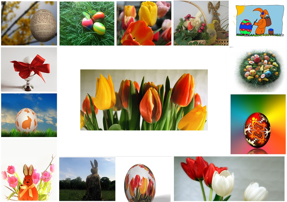 Easter, Egg, Collage, Spring, Tulips, Easter Eggs