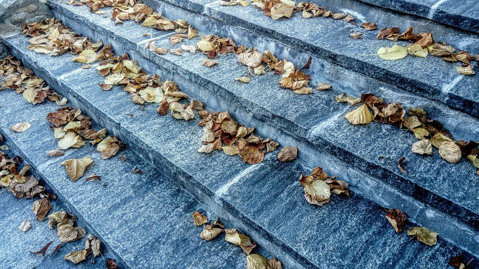 Stairs, Marble, Autumn Leaves, Park, October, Collapse