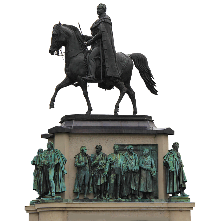 Isolated, Monument, Metal, Reiter, Horse, Cologne