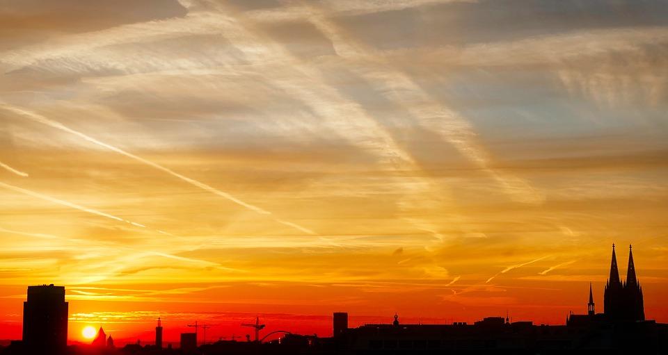 Cologne, Dom, Sunrise, Romantic, Light, Yellow, Germany
