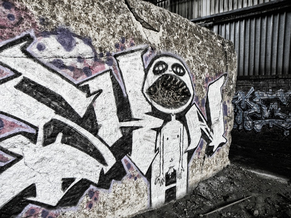 Graffiti, Wall, Concrete, Cologne, Deutz Ag