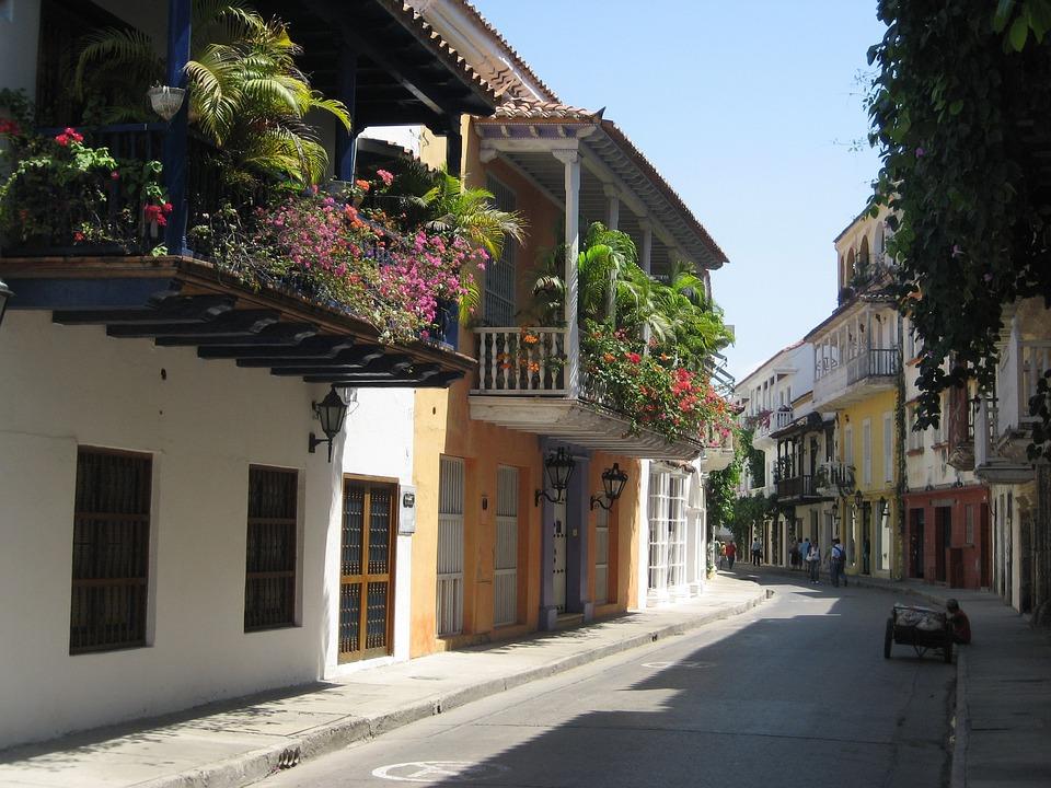 Cartagena, Colombia, Old, Shadow, Street, Balconies