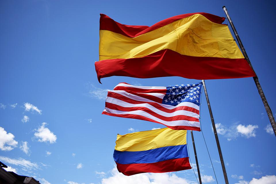 Colombia, Spain, United States, Flags, Football, 2019