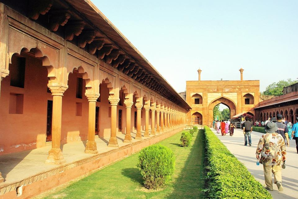 India, Agra, Allee, Colonnade, Taj Mahal