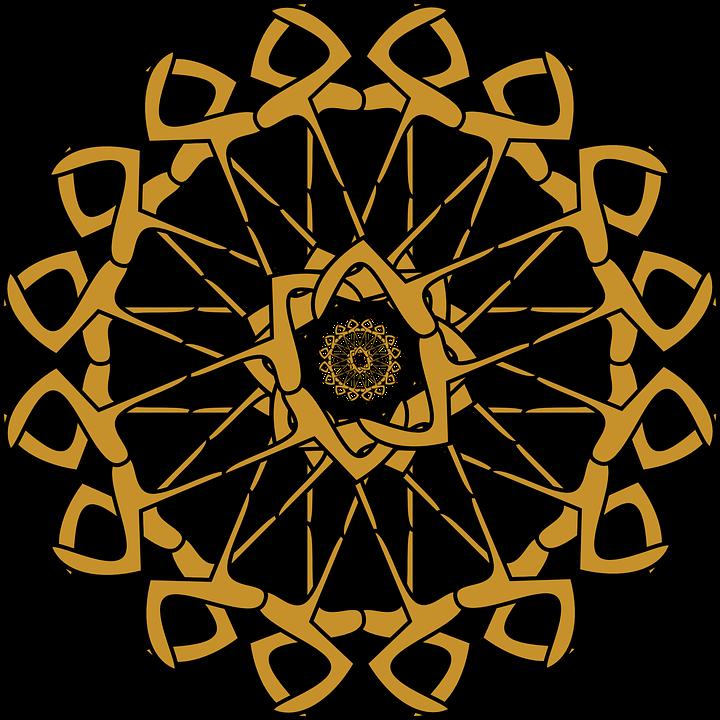 Rosette, Abstract, Circle, Color, Wheel, Yellow, Golden