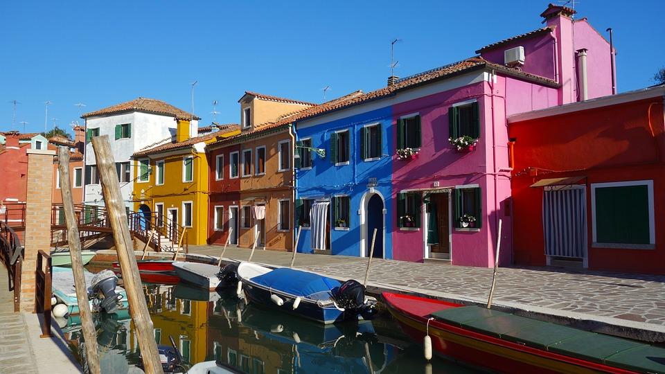 Burano, Venice, Island, Scenic, Color, Colorful