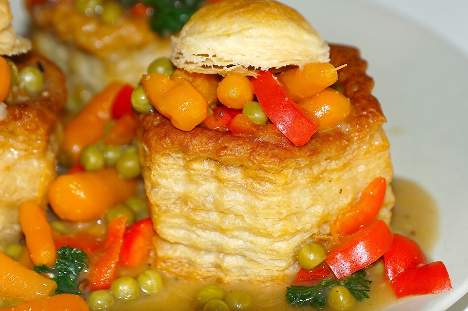 Food, Eat, Vegetables, Pate, Puff Pastry, Color