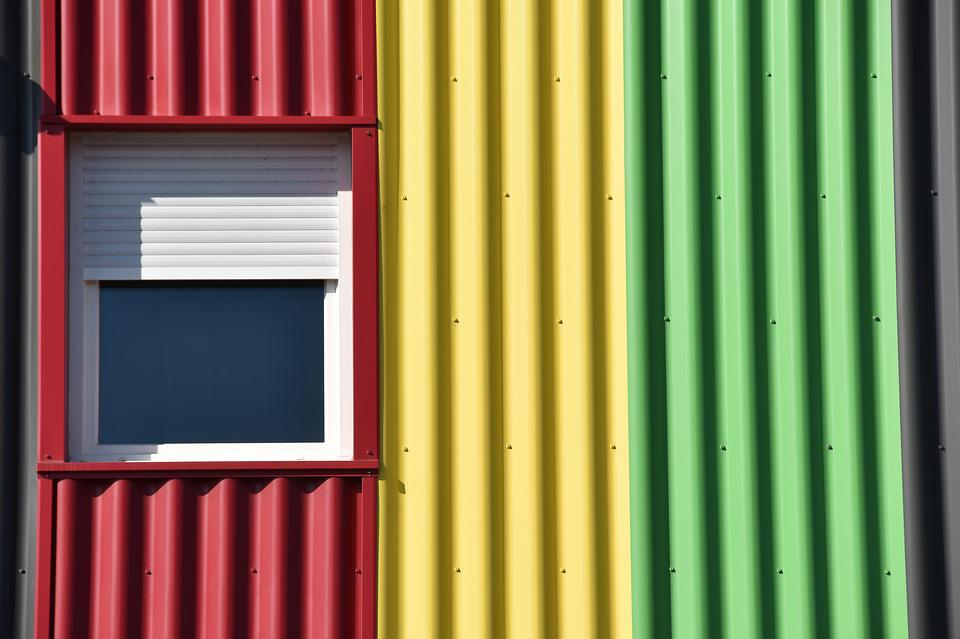 Window, Color, Industrial, Building, Red, Yellow Green
