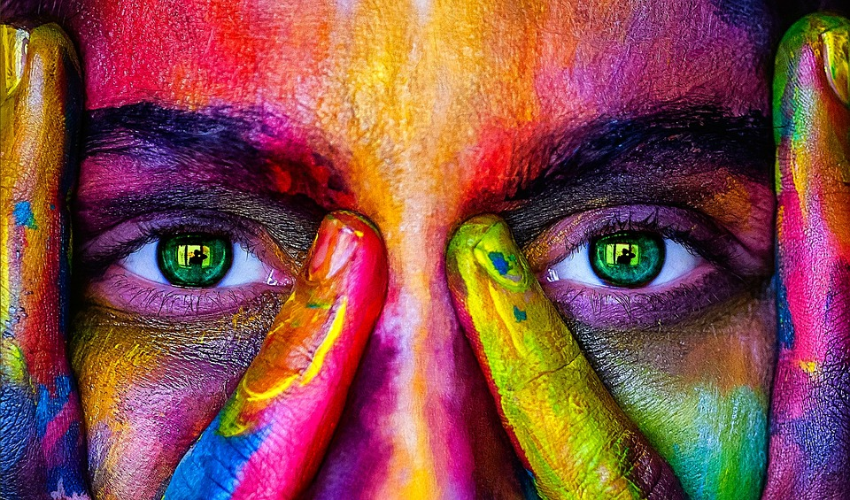 Girl, Color, Rainbow, Model, Person, Woman, Eyes, View