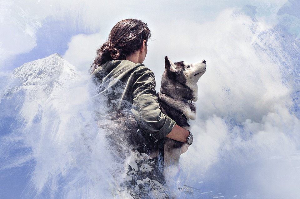 Woman, Wolf, Mountains, Art, Processing, Color, Sky