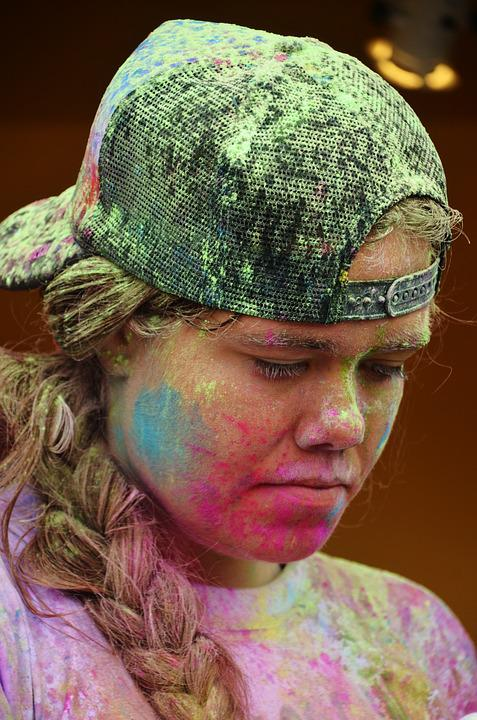 Color Run Festivals, Girl, Colorful, Funny, Celebration