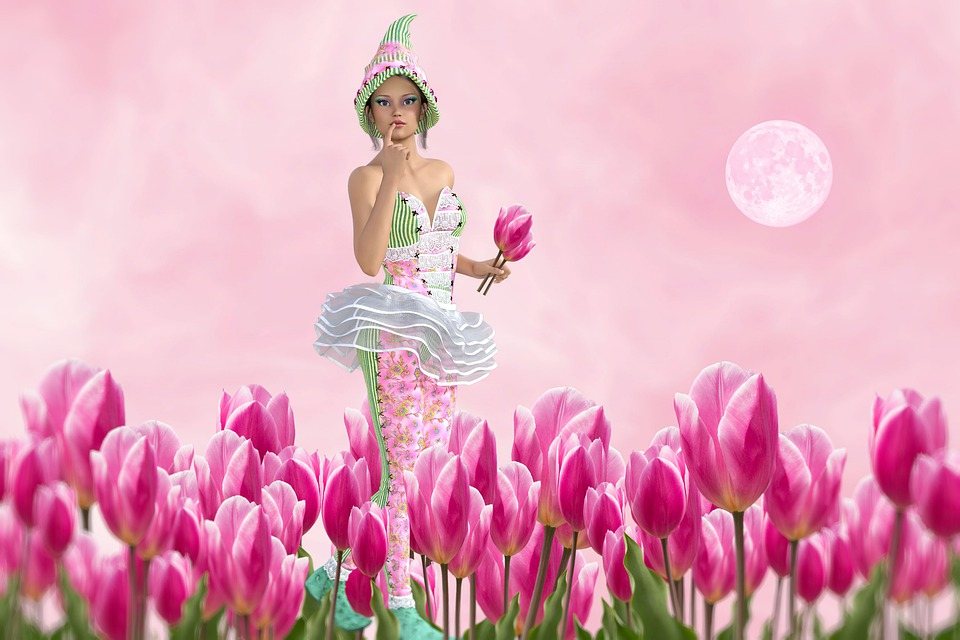 Flowers, Tulips, Pink, Fantasy, Colorful, Color, Bloom