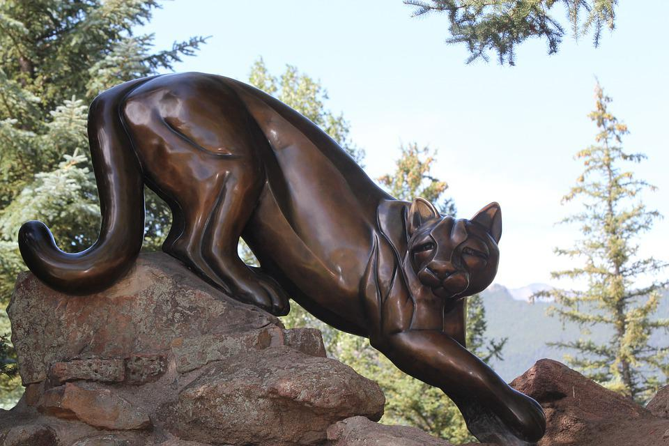 Lion, Statue, Rocky, Mountain, Colorado, Cat, Bronze