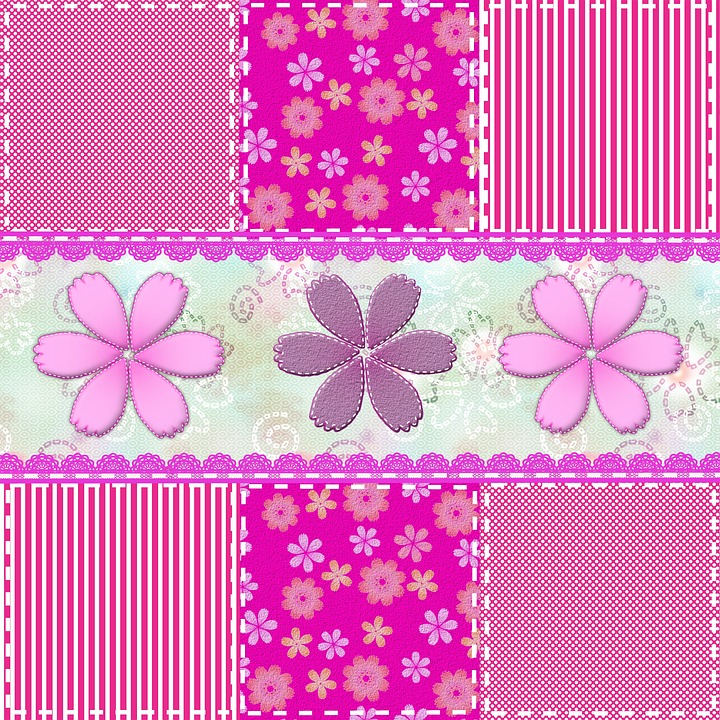 Patchwork, Material, Texture, Colored, Flower, Badges