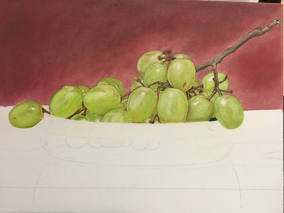 Grapes, Drawings, Painting, Still Life, Colored Pencil