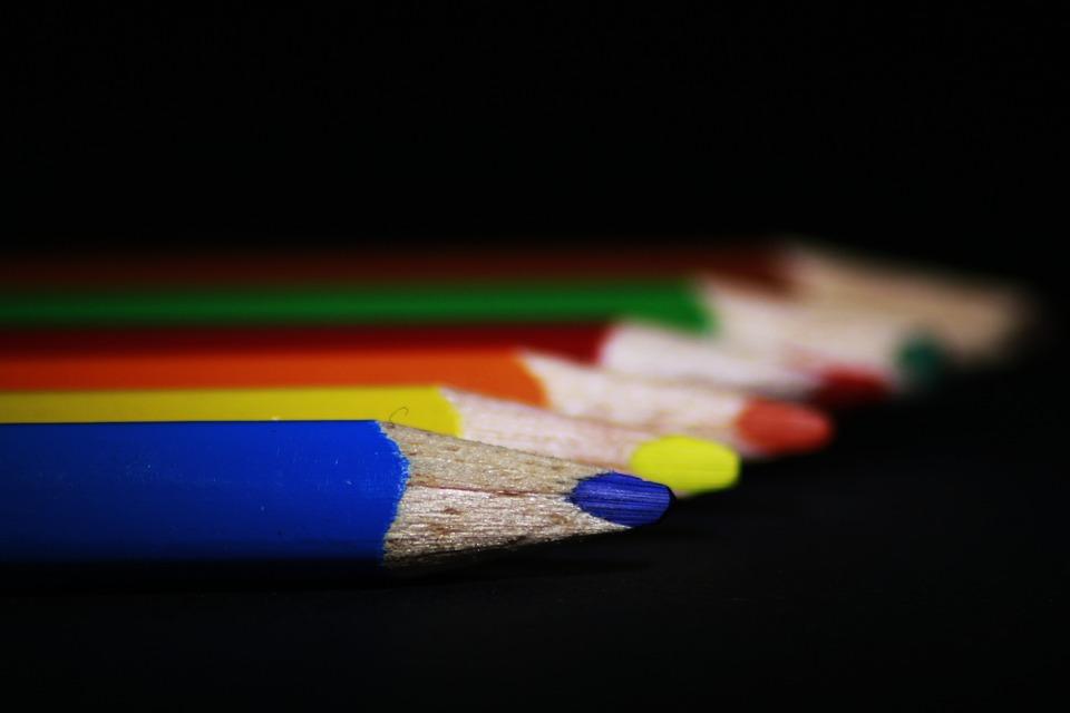 Pens, Colored Pencils, Close, Draw, School, Macro