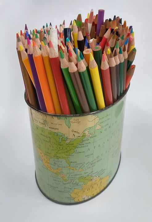 free photo colored pencils pencil holder colour map school max pixel