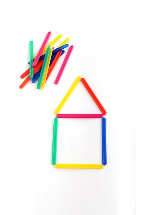 Counting Sticks, Sticks, School, Colored Sticks, House
