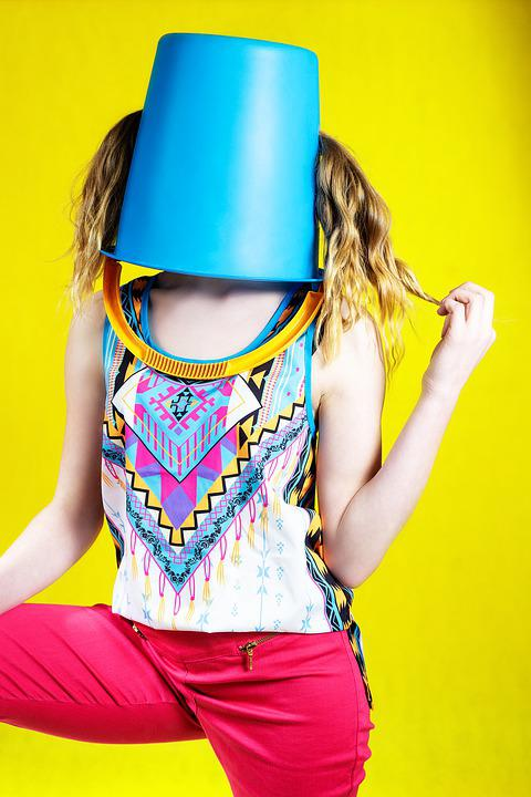 Bucket, Yellow, Colorful, Woman, Hair, Blond, Blue