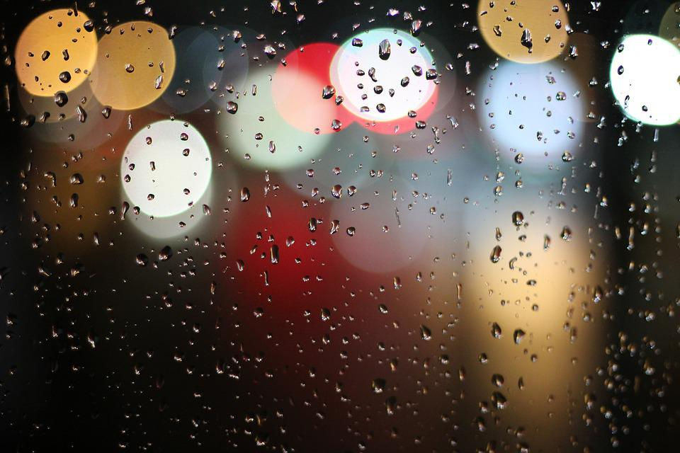Lights, Water, Blur, Rain, Raindrops, Colorful