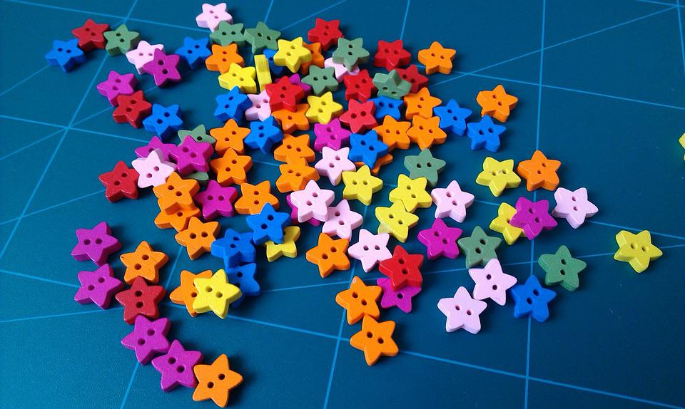 Buttons, Stars, Colorful, Color, Rainbow, Children