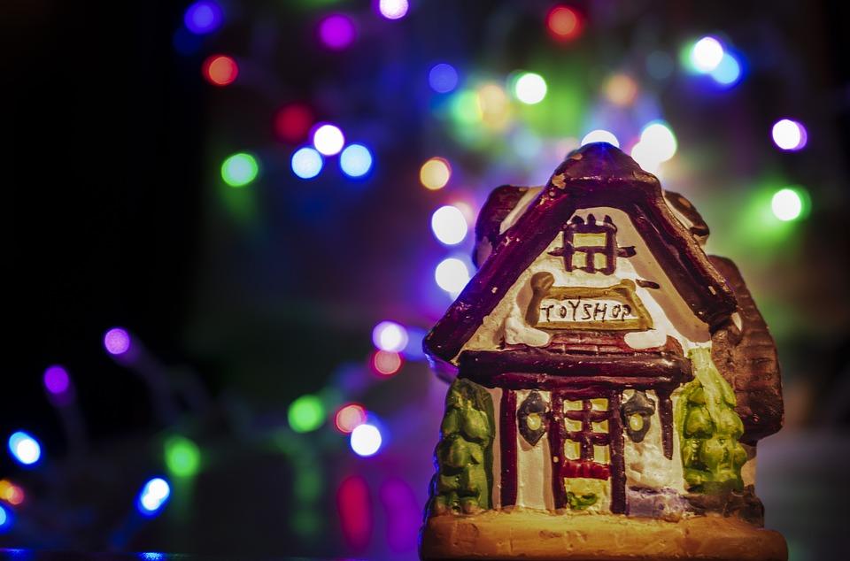 Colorful Christmas Lights On House.Free Photo Colorful Christmas House Background Winter Lights