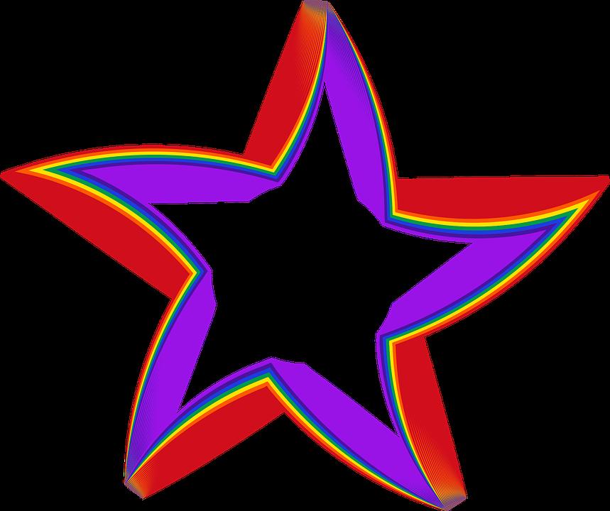 Colorful, Prismatic, Chromatic, Rainbow, Star, Shape