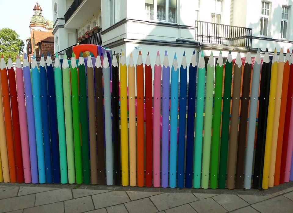 Colour Pencils, Fence, Limit, Plot, Colorful